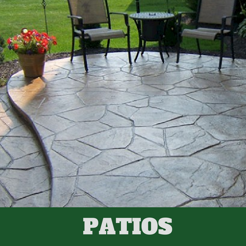 Residential patio in Milford, CT with a stamped finish.